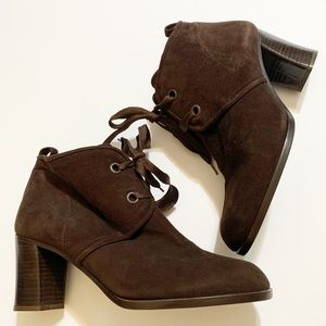 DKNY Brown Suede Lace Up Ankle Boots Block Heels